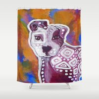 pitbull Shower Curtains featuring Pitbull Art by Just Bailey Designs .com