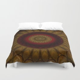 Mandala in copper and red tones Duvet Cover