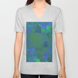 A Different View Of Earth - Abstract, textured, globe painting Unisex V-Neck