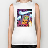 gameboy Biker Tanks featuring The Legend of Gameboy by thechrishaley