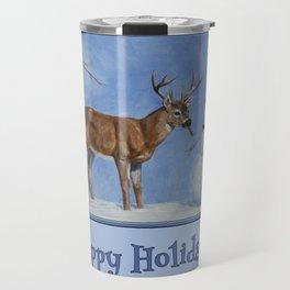 Christmas Deer Eating Snowman Carrot Nose Travel Mug
