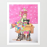 sewing Art Prints featuring Sewing by  Artsanew