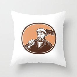 Blacksmith Holding Sledgehammer Woodcut Throw Pillow