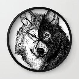 Ying Yang Wolf Wall Clock