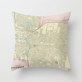 Vintage Map of Columbus Ohio (1901) Throw Pillow