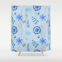 Blue Floral Pattern on Blue - Branches Shower Curtain