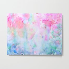 Watercolor Abstract pink Forest Metal Print