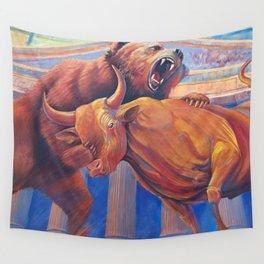 Bear vs Bull Wall Tapestry