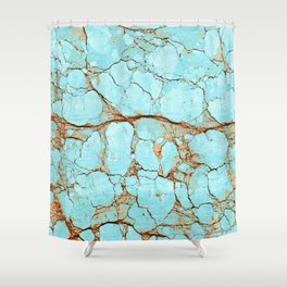Cracked Turquoise & Rust Shower Curtain