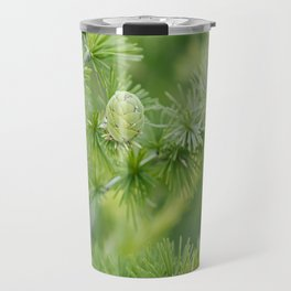 Young cones coniferous in the spring in the garden Travel Mug