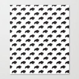 Buffalo Repeat in Black + White Canvas Print
