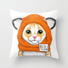 kitten in fox cap Throw Pillow