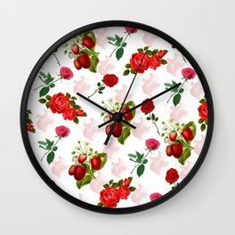 Roses and Strawberry Pattern Wall Clock