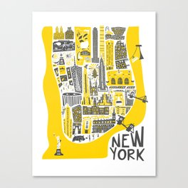 Manhattan New York Map Canvas Print