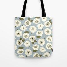 Floating Flowers Grey Tote Bag
