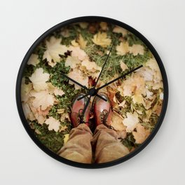Shoes And Leaves Wall Clock