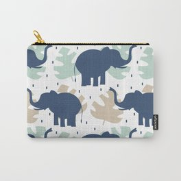 cute pattern background illustration with elephants and tropical exotic leaves Carry-All Pouch