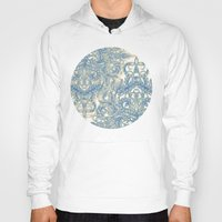 bedding Hoodies featuring Blue & Tan Art Nouveau Pattern by micklyn