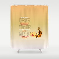 pooh Shower Curtains featuring stronger, braver, smarter, winnie the pooh by studiomarshallarts