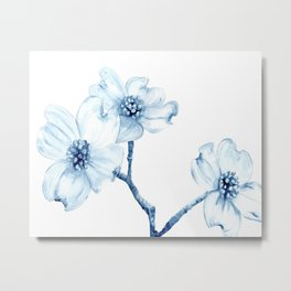 Dogwood Blossoms in Indigo Metal Print