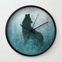 Howling Wolf: Space Silhouette Wall Clock