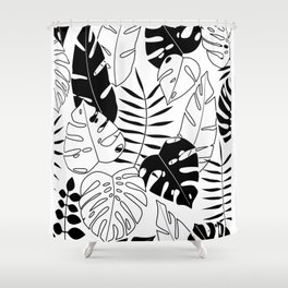 black and white tropical minimal leaves poster Shower Curtain