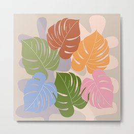 Monstera leaves on an abstract background Metal Print