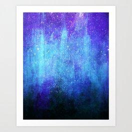 Space Glacier // Blue Purple Nebula Art Print