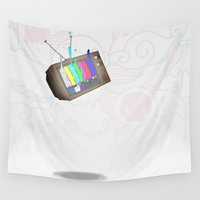 tv Wall Tapestries featuring tv by Nate Galbraith
