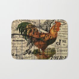 vintage typography barn wood shabby french country poulet chicken rooster Bath Mat