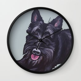 """Painting of a black Scottish Terrier """"Scottie"""" dog  Wall Clock"""