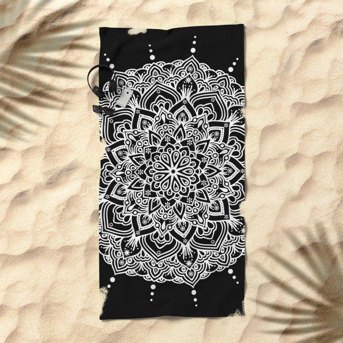 White Mandala With Droplets On Black Beach Towel