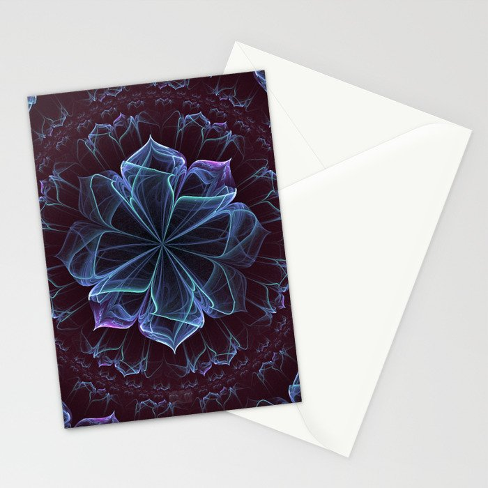 Ornate Blossom in Cool Blues Stationery Cards