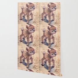 Vintage Chenille Deer Wallpaper
