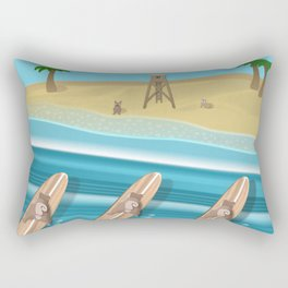 Team Pugs Surfing Rectangular Pillow