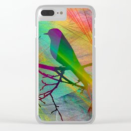 ap070 Bird on branch Clear iPhone Case