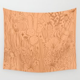 Cactus Scene in Orange Wall Tapestry