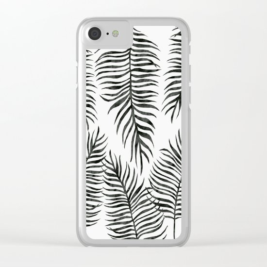 Black Fern Pattern Clear iPhone Case