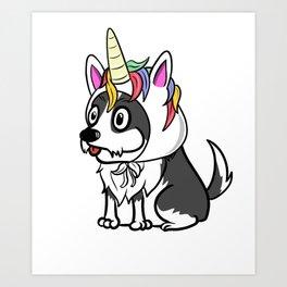 Border Collie Unicorn Hat Art Print