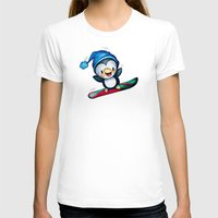 snowboarding T-shirts featuring Too Cool to Penguin by Schwebewesen • Romina Lutz