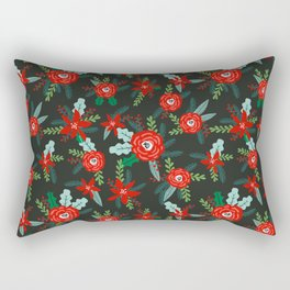 Floral christmas painted florals flower decor seasonal holidays red green Rectangular Pillow