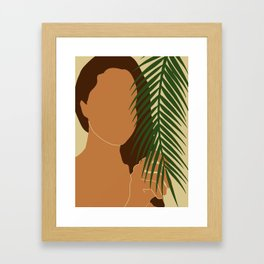 Tropical Reverie - Modern Minimal Illustration 02 - Girl with palm leaf - Tropical Aesthetic - Brown Framed Art Print