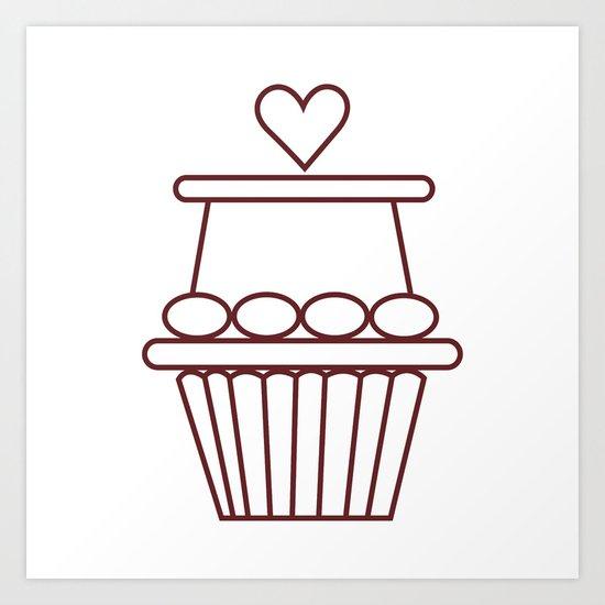 Cupcake Heart Art Print
