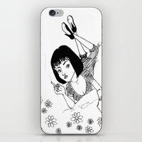 mia wallace iPhone & iPod Skins featuring Chilling with Mia Wallace  by MORPH3US
