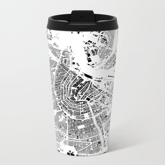 Amsterdam Map Schwarzplan Only Buildings Metal Travel Mug
