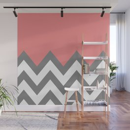 CORAL COLORBLOCK CHEVRON Wall Mural