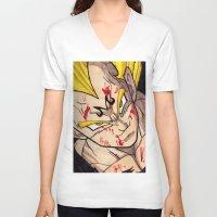vegeta V-neck T-shirts featuring Vegeta by DeMoose_Art