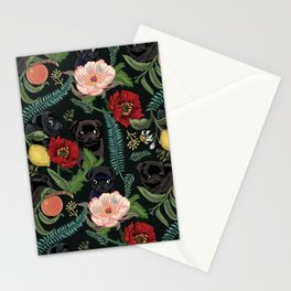 Botanical and Black Pugs Stationery Cards
