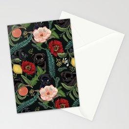 Botanical and Black Pugs Stationery Cards
