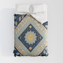 Sun Moon and Stars Celestial Blue Comforters